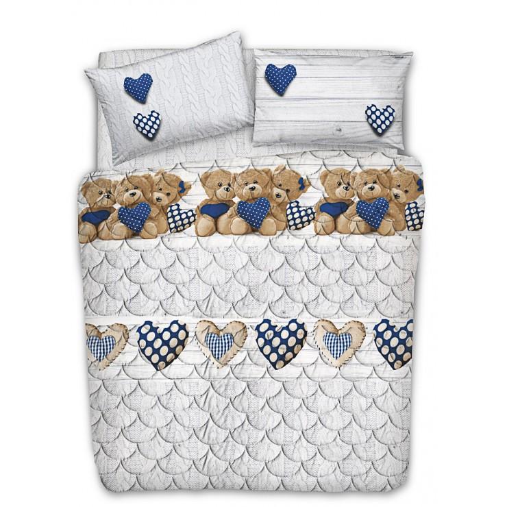 Prešívaný bavlnený prehoz na posteľ Medvedík modrý Made in Italy