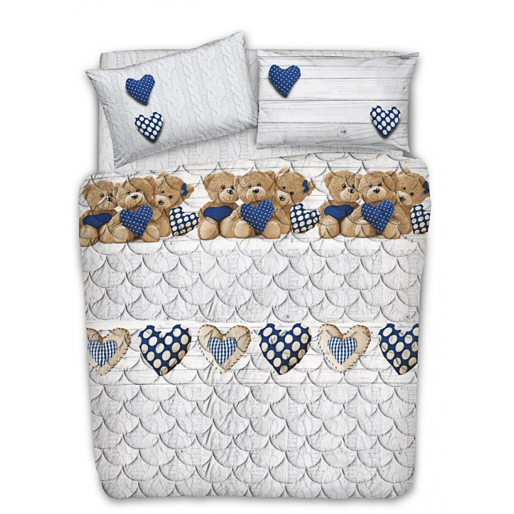 Quilted cotton bedspread Teddy bear blue Made in Italy