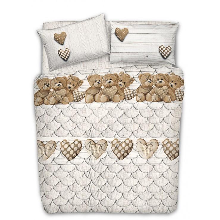 Prešívaný bavlnený prehoz na posteľ Medvedík béžový Made in Italy