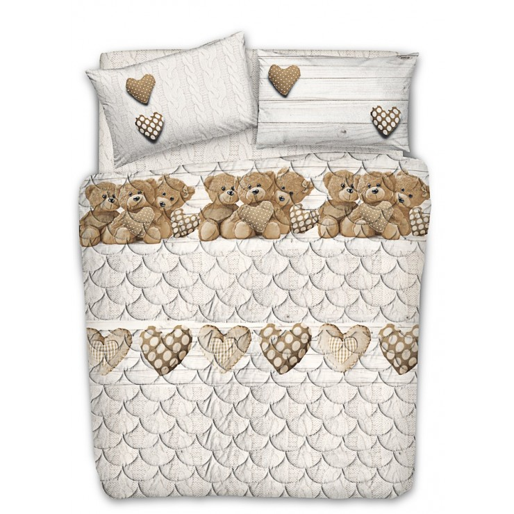 Quilted cotton bedspread Teddy bear beige Made in Italy