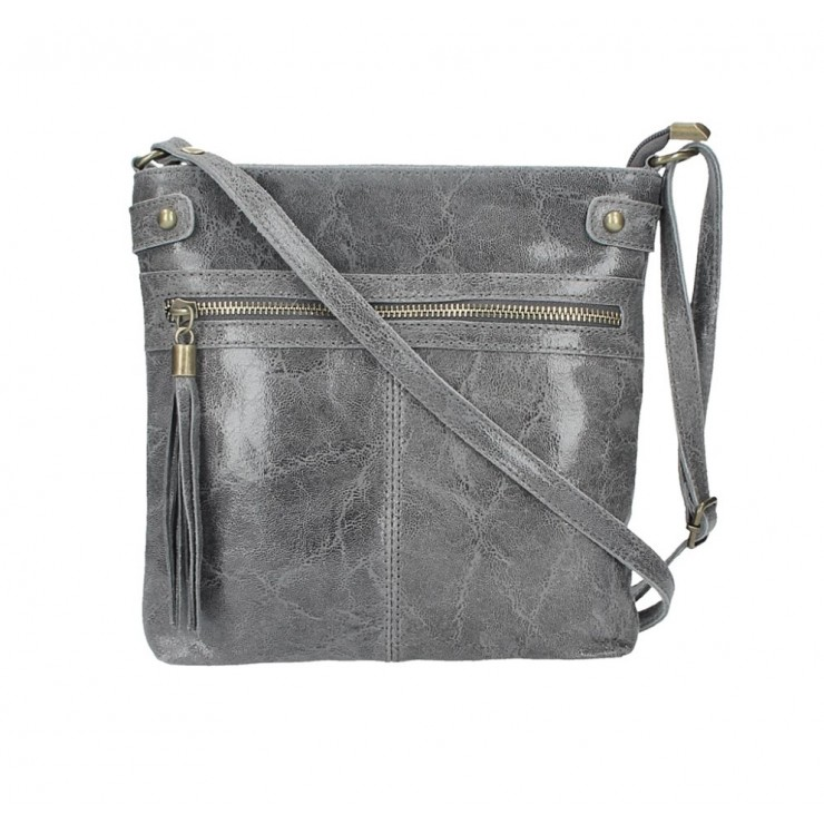 Genuine Leather Shoulder Bag 727 dark gray