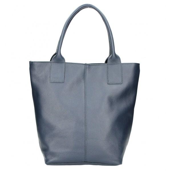 Kožená kabelka na rameno 1255 Made in Italy tmavomodrá Modrá