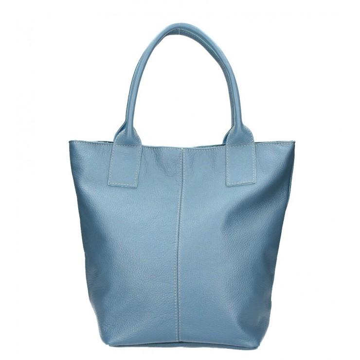Kožená kabelka na rameno 1255 Made in Italy blankytne modrá