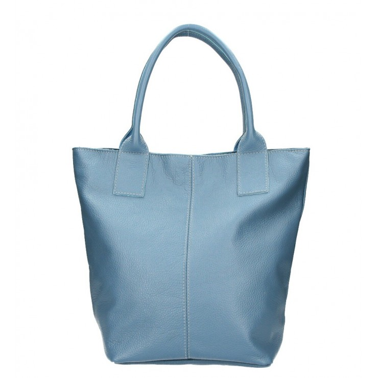 Leather Maxi Bag 1255 Made in Italy azure blue