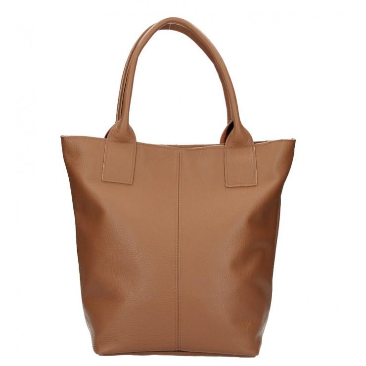 Kožená kabelka na rameno 1255 Made in Italy hnedá