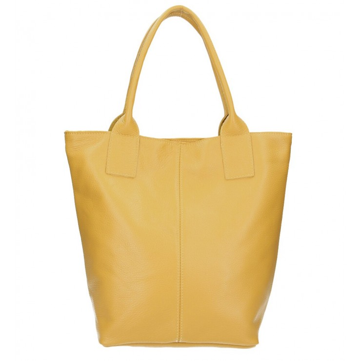 Leather Maxi Bag 1255 Made in Italy mustard