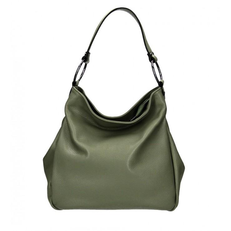 Kožená kabelka 1081 vojensky zelená Made in Italy
