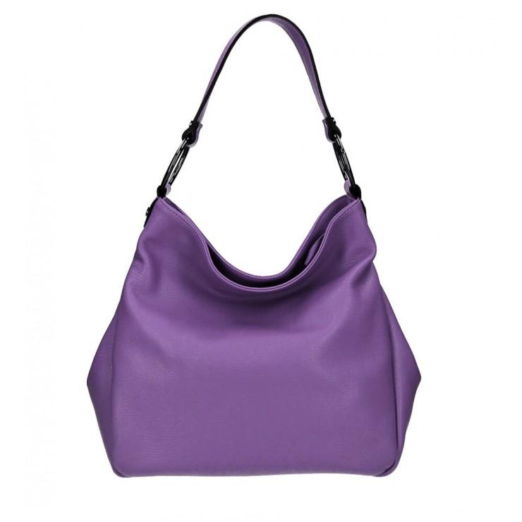 Kožená kabelka 1081 fialová Made in Italy