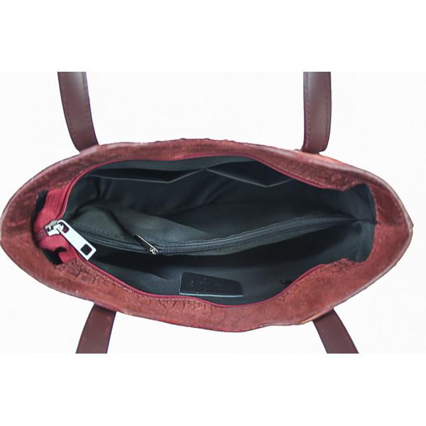 Kožená kabelka potlač krokodíl 1452 šedohnedá