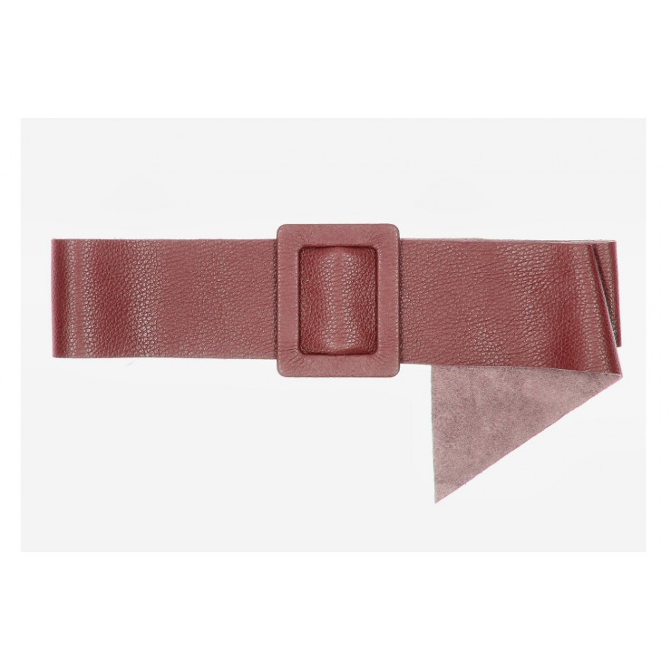 Women leather belt 1217 dark red Made in Italy