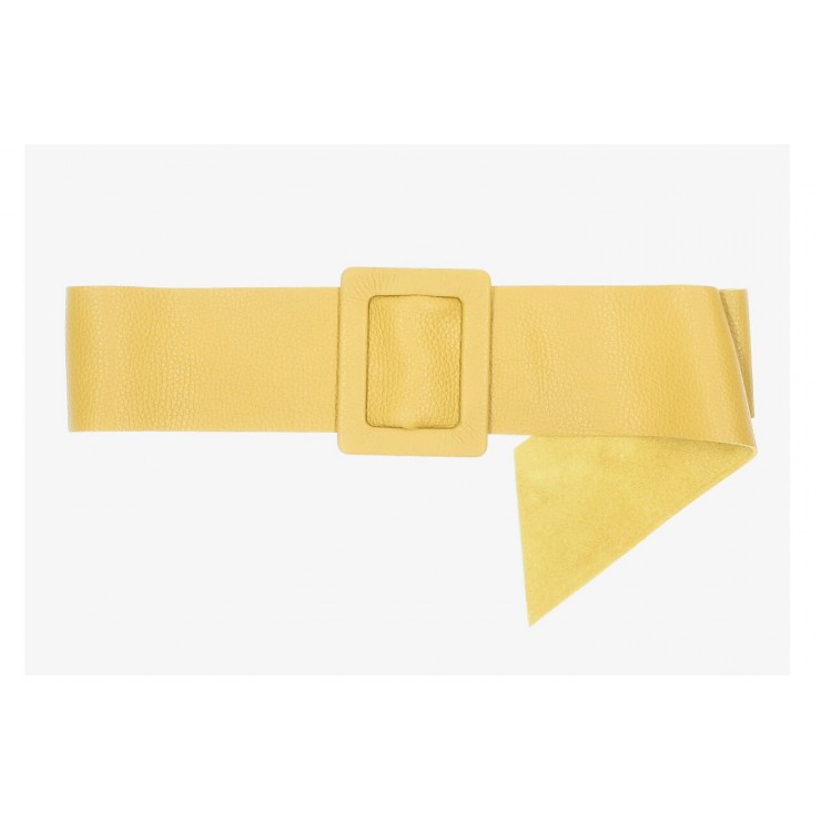 Women leather belt 1217 mustard Made in Italy