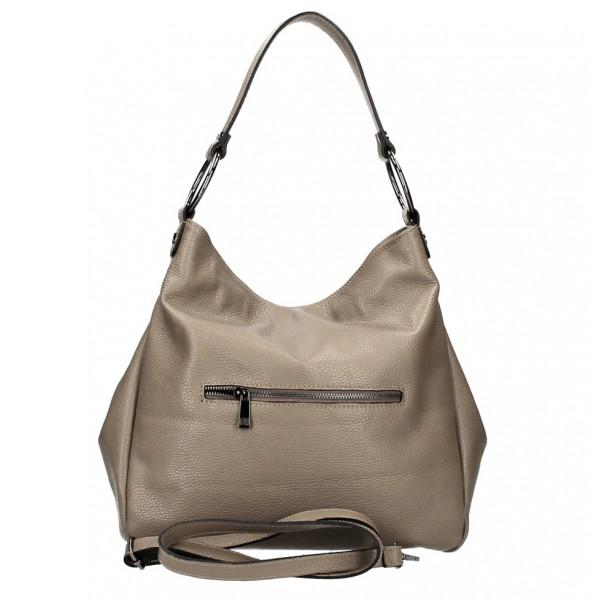 Kožená kabelka 1081 šedohnedá Made in Italy Šedohnedá