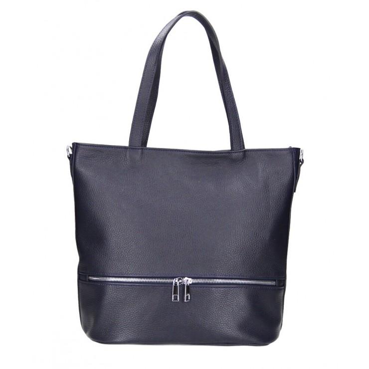 Genuine Leather Maxi Bag MI31 dark blue MADE IN ITALY