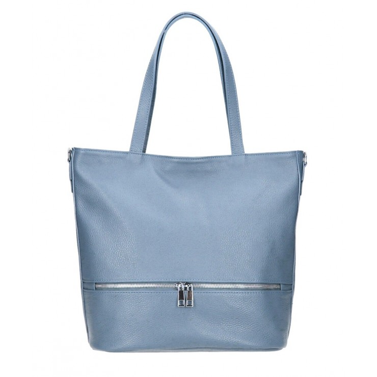 Genuine Leather Maxi Bag MI31 azure blue MADE IN ITALY