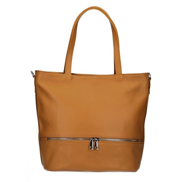 Genuine Leather Maxi Bag MI31 cognac MADE IN ITALY