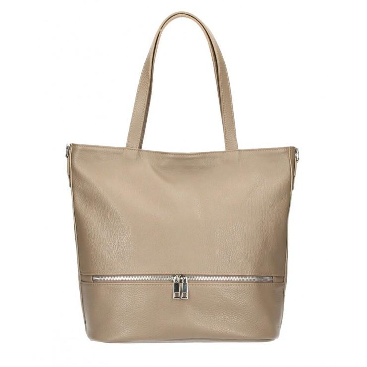 Genuine Leather Maxi Bag MI31 dark gray-brown MADE IN ITALY