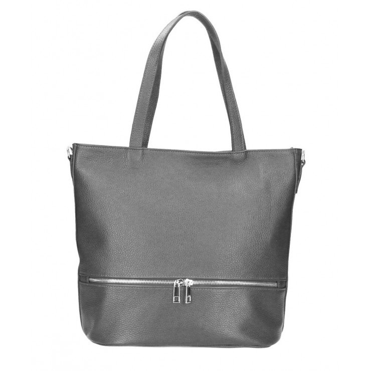 Genuine Leather Maxi Bag MI31 dark gray MADE IN ITALY