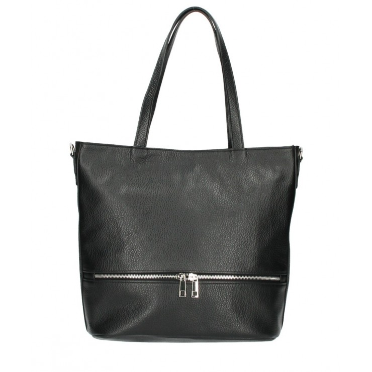 Genuine Leather Maxi Bag MI31 black MADE IN ITALY