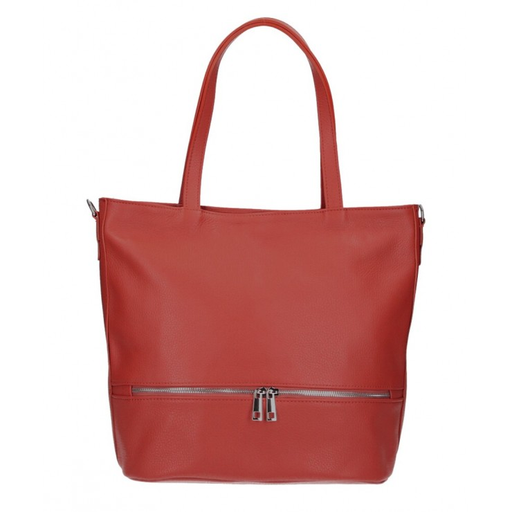 Genuine Leather Maxi Bag MI31 dark red MADE IN ITALY