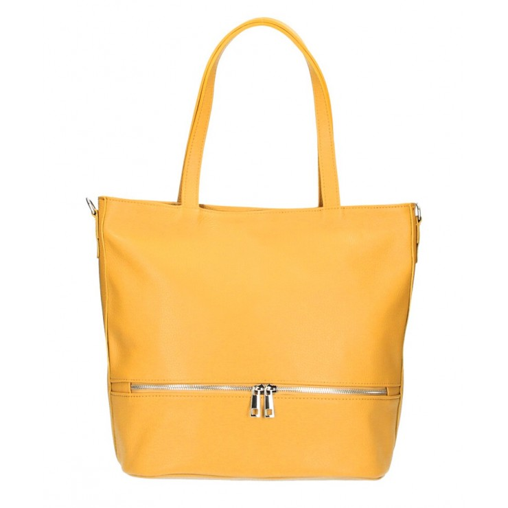 Genuine Leather Maxi Bag MI31 mustard MADE IN ITALY