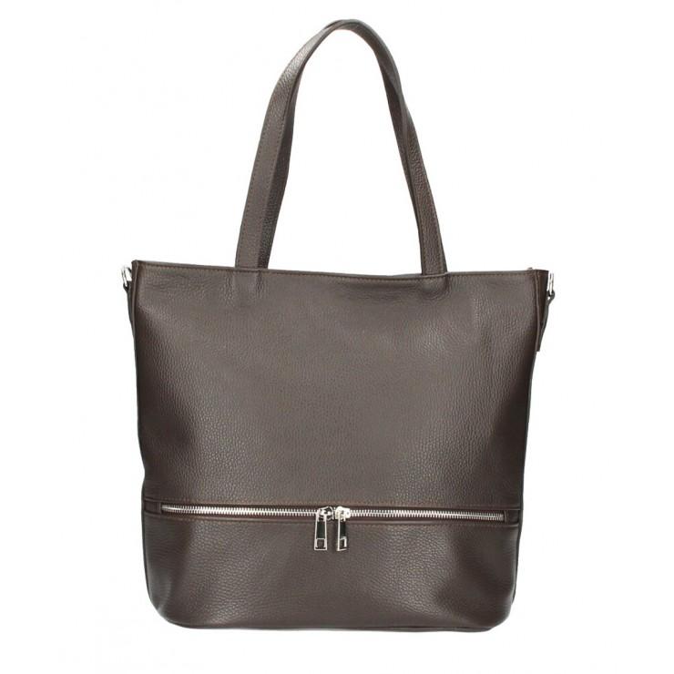 Genuine Leather Maxi Bag MI31 dark brown MADE IN ITALY