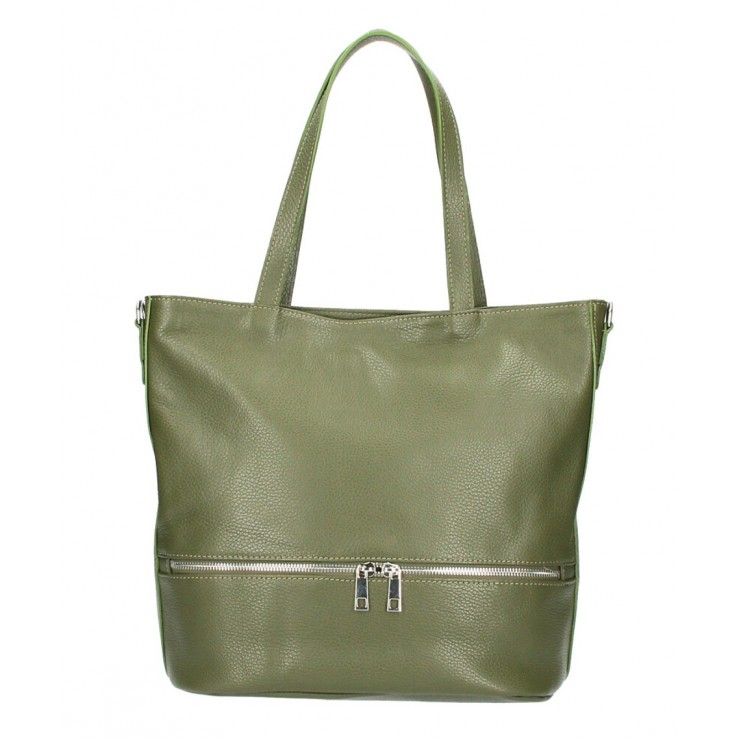 Genuine Leather Maxi Bag MI31 military green MADE IN ITALY