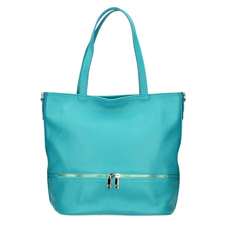 Genuine Leather Maxi Bag MI31 turquoise MADE IN ITALY
