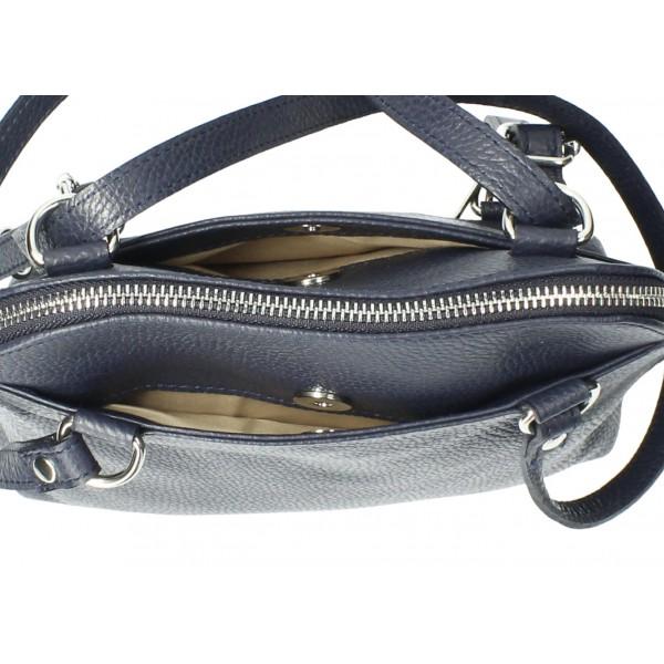 Kožená kabelka na rameno/batoh MI38 tmavomodrá Made in Italy Modrá