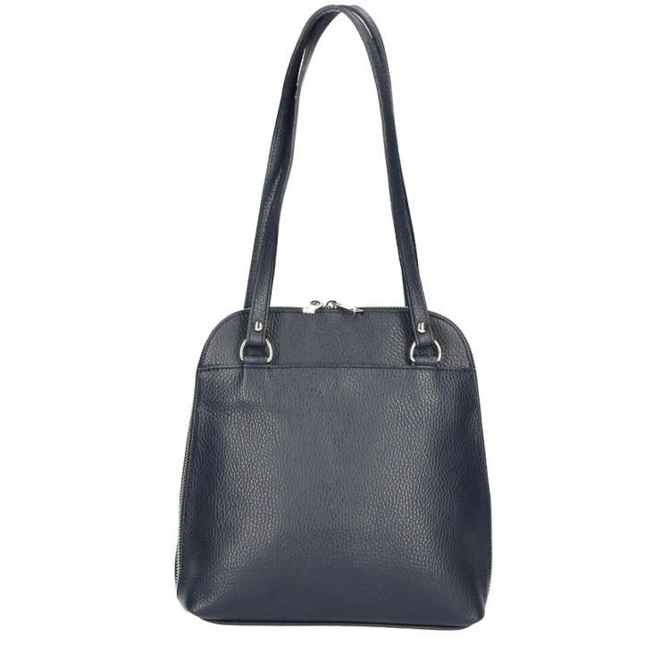 Leather shoulder bag/Backpack MI38 dark blue Made in Italy