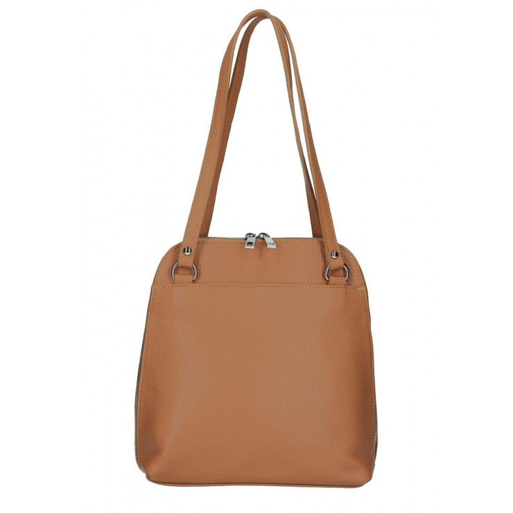 Leather shoulder bag/Backpack MI38 cognac Made in Italy