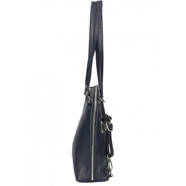 Kožená kabelka na rameno/batoh MI38 tmavošedá Made in Italy Šedá