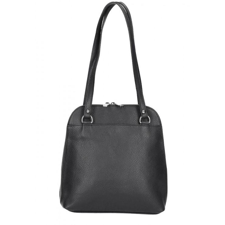 Leather shoulder bag/Backpack MI38 black Made in Italy