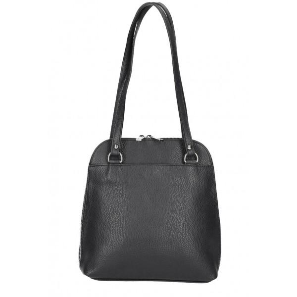 Kožená kabelka na rameno/batoh MI38 čierna Made in Italy Čierna