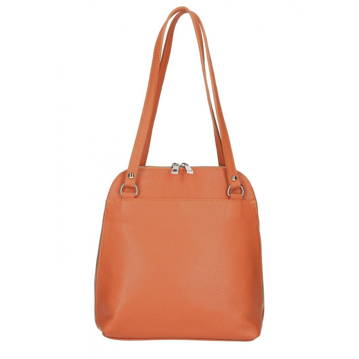 Leather shoulder bag/Backpack MI38 papaya Made in Italy