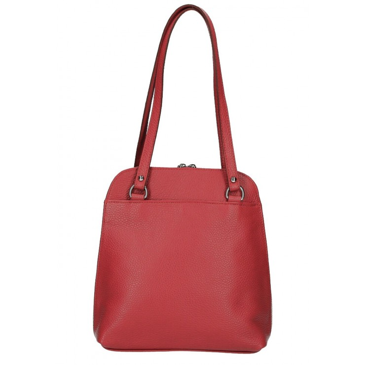 Leather shoulder bag/Backpack MI38 red Made in Italy