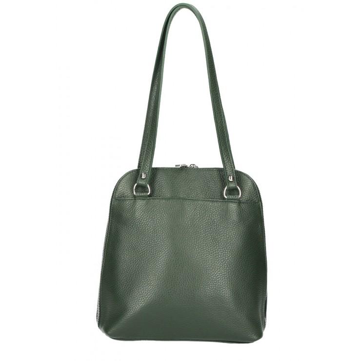 Leather shoulder bag/Backpack MI38 dark green Made in Italy