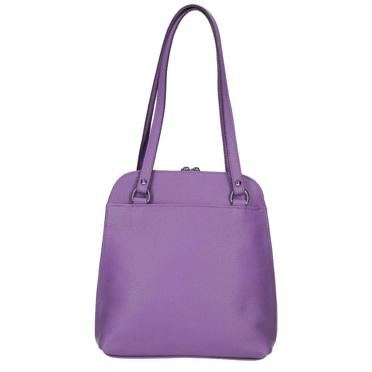 Kožená kabelka na rameno/batoh MI38 fialová Made in Italy