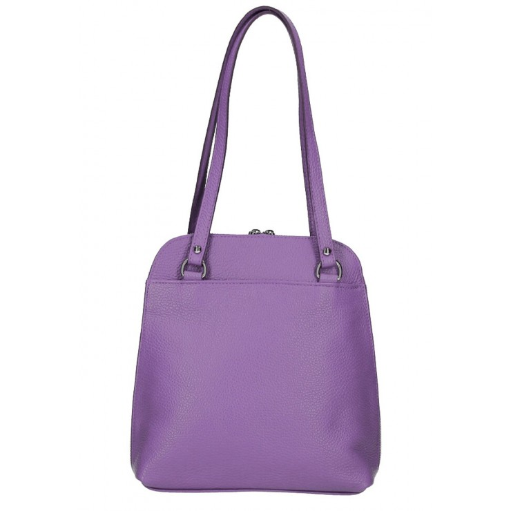 Leather shoulder bag/Backpack MI38 purple Made in Italy