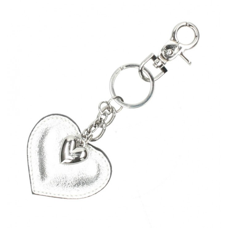 Leather key chains heart silver