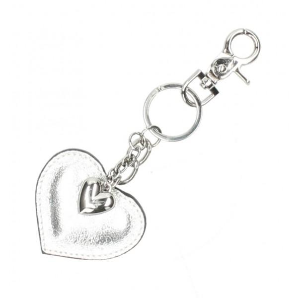 Kožená kľúčenka srdce strieborná Strieborná
