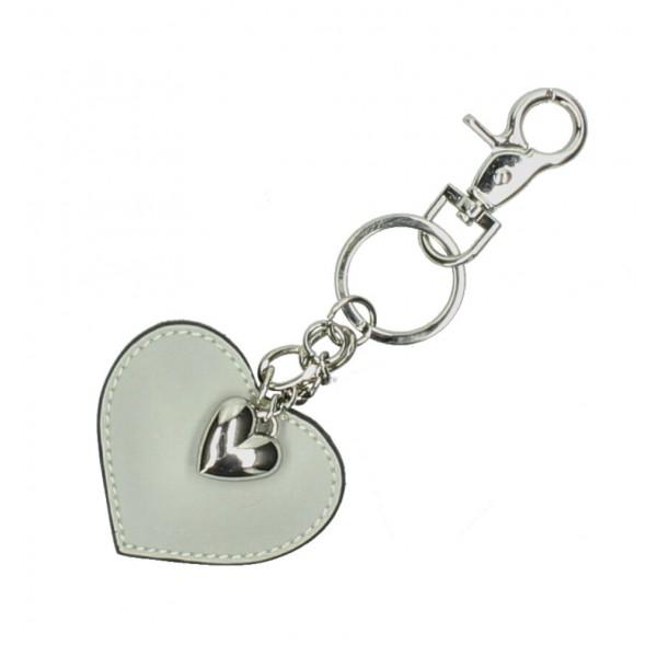 Kožená kľúčenka srdce šedá Šedá