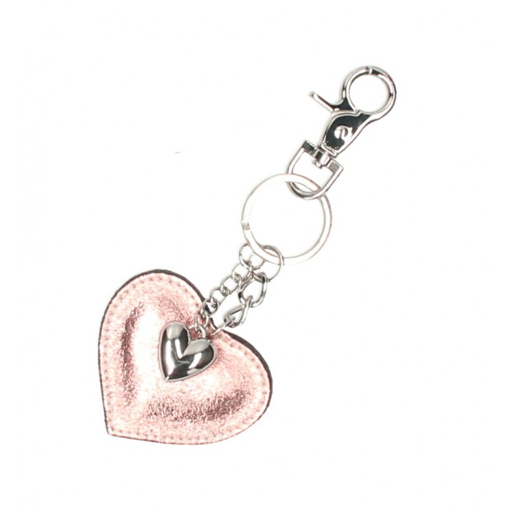 Leather key chains heart gold pink