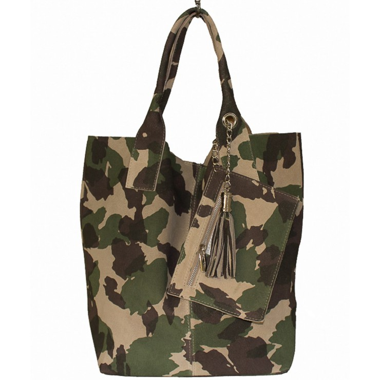 Genuine Leather Maxi Bag  804 military green