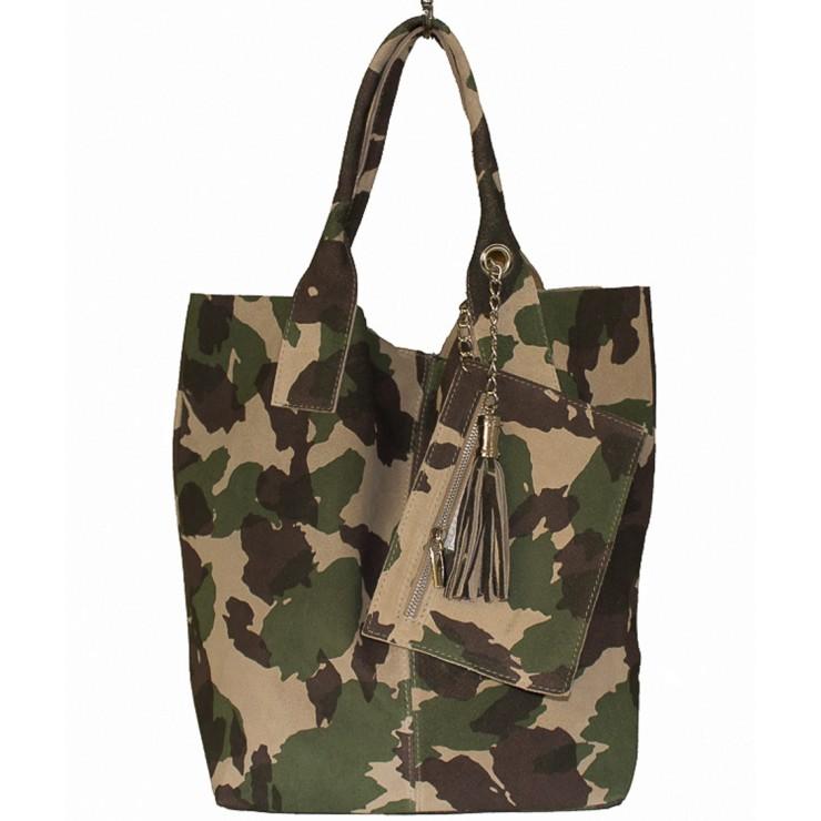 Vojensky zelená kožená kabelka v úprave semiš 804