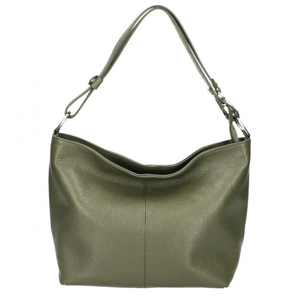 Kožená kabelka na rameno 729 vojensky zelená Made in Italy Zelená