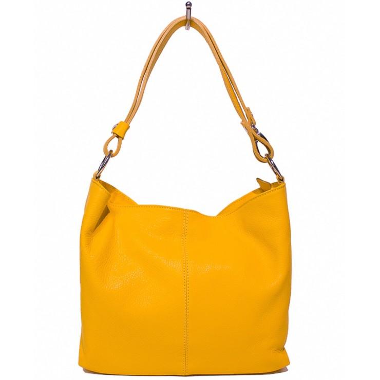 Kožená kabelka na rameno 729 okrová Made in Italy