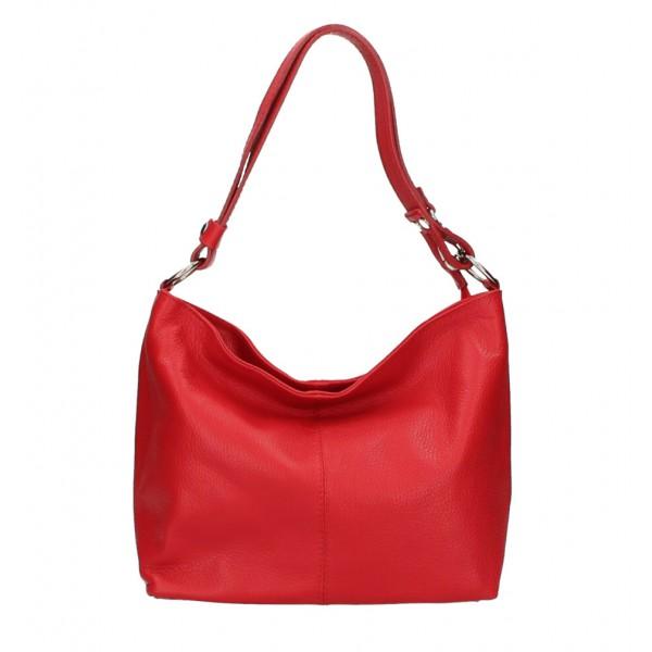 Kožená kabelka na rameno 729 svetločervená Made in Italy Červená