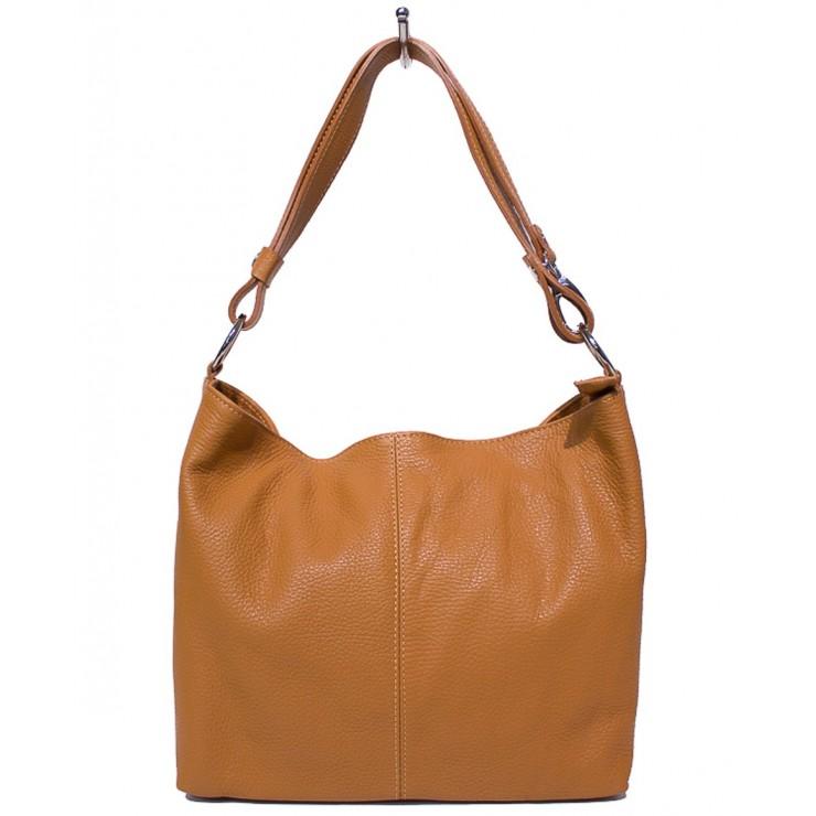 Genuine Leather Handbag 729 cognac Made in Italy