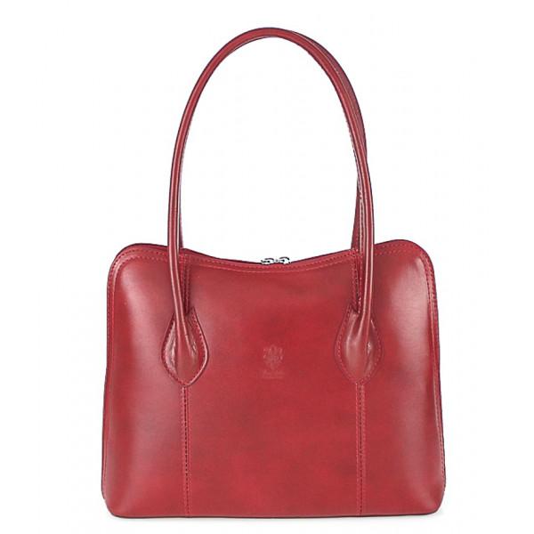 Dámska kožená kabelka 672 červená
