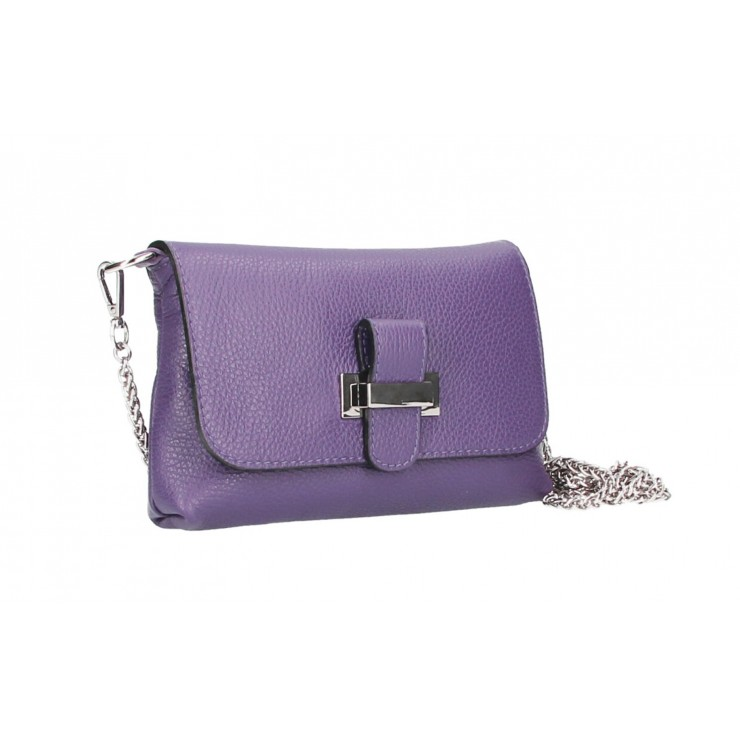Leather messenger bag  MI305 light purple Made in Italy